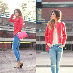 Maria L. - Mango Biker, H&M Bag, Gina Tricot Jeans, Zara Shoes - RED HOT