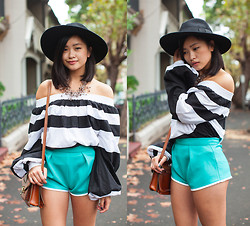 Jessica Tran - Mlm Off The Shoulder Top, Asos Scuba Shorts - Striped up