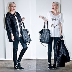 Holly Waanderland - Motel Rocks Quilted Coat, Myer Miss Shop Très Bien Tee, Witchery Leather Tote, Nike Sneakers - Weekend in Paris