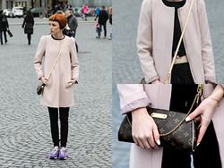 Wendy L - H&M Coat, New Balance Sneakers, Louis Vuitton Bag, Zara Top - Rose.