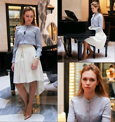 Alena Vorontsova - Karmanova Katya Skirt, Giorgio Armani Blouse, Christian Louboutin Shoes, Michael Kors Watch - White skirt