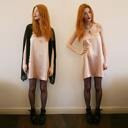 Hannah Louise - Lashes Of London Daisy Cape, Motel Nude Satin Slip Dress, Topshop Argo Boots - Nude Slip