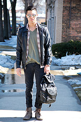 Matthew Woppel - Ray Ban Sunglasses, Obey Jacket, Urban Outfitters Shirt, All Saints Boots - Leather x Backpack
