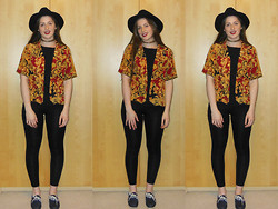 Ellie W - Topshop Felt Hat, Charity Shop Top, Gold Chain Choker, Topshop Leggings - Just Say Yes