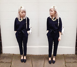 Kate G - Sammydress Leaf Necklace, Asos Jumpsuit, Chic Wish Bag, Asos New Favourite Flats - Spring approaches