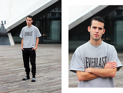 Thibaud G. - Everlast Tee, Weekday Black Pants, Adidas Black Adilettes - REVIVE YOUR LIFE