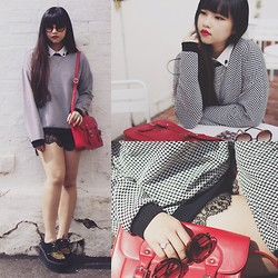Rachel Koh - Forever 21 Checked Sweater, Skull Collar Pins, Lace Trim Shorts, Underground Uk Triple Sole Creepers, Leopard Print Sunnies, Red Leather Satchel, White Chiffon Top, Revlon #725 Love That Red - Red Letter Day