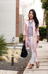 Kileen Valenzuela - Mart Of China Pink Trench Coat, Loft Striped Shirt, Rag & Bone White Skinny Jeans, Ivanka Trump Janie Pumps - Spring Essential :: Pink Trench Coat