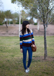 MELLOW YELLOW - Color Block Sweater, Asos High Waisted Jeans, H&M Bag - Color Block