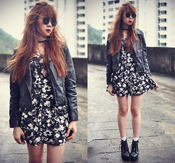 Tess Lively - Sheinside Leather Jacket, Abaday Floral Dress, Choies Ankle Boots - Windy day