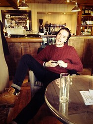 Matt - Cat Boots, Black Skinnies, Cable Knit - Country Pub