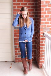 Shannon Willardson - Target Cardigan, Forever 21 Tank, Ross Jeans, Justfab Boots - St. Patty's Day Blue