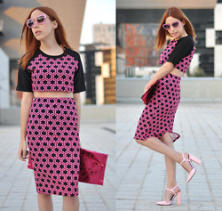 Laia N - Miu Glitter Sunglasses, Sister Jane Crop Top, Sister Jane Pencil Skirt, Maison Martin Margiela Candy Bag, Zara Pointed Heels - Pretty in pink