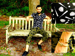 David Rodriguez - Asos Catcher's Mitt Print Button Down, H&M Camo Print Trousers, Vans Slim Low Cut Lace Ups, Giles And Brother Brass Railroad Spike Bracelet, Miansai Sterling Silver Reeve Screw Cuff - BENCHED
