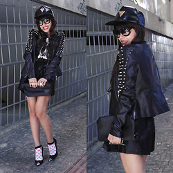 Priscila Diniz - Spoon Lunch Bag, Riveted Jacket, Black Cap, Black Faux Leather Shorts - Be gentle with a sweet lady today ;)