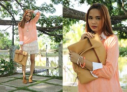 Kai Grafia - Romwe Peach Sweater, Hued Bags Zoee Tote, Girls Haven Noelle Booties - Peaches and Cream