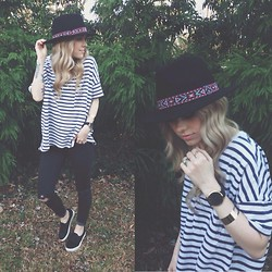 Mary Ellen Skye - Steve Madden Pony Hair Sneaks, Madewell Shirt, Anthropologie Hat, Larsson And Jennings Watch - Time