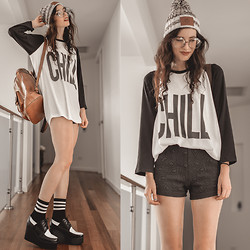Elle-May Leckenby - Wstd Beanie, Chill Baseball T, Santa Cruz Leather Backpack, Colour Block Creepers, Big Circle Clear Lens Glasses - Can we chill?