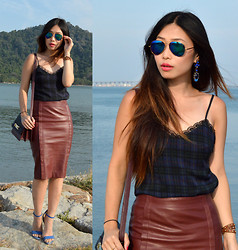 Cassandra Y. Liu - Choies Leather Midi Skirt, Oasap Earring - Lace, Leather & Blue