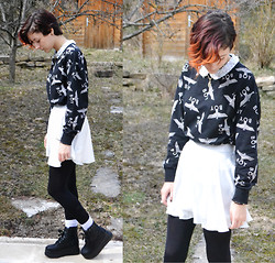 Alexandra C - Yestyle Platform, H&M High Waisted Skirt, H&M Collar Top, Adidas Socks - Sweater weather