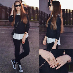 Jovana D. - H&M Blouse, New Yorker Sweater, Converse Sneakers - Black and White