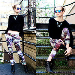Lydia K - Topshop Jumper, Spektre Shades, Butterfly Necklace, Zara Pants, H&M Wedges - Cropped