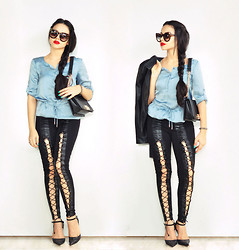 Clara Campelo - Bag, Pants, Sunglasses, Jacket, Armani Exchange Top - Feeling Happy in Blue