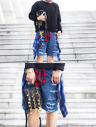 Judas Lee - &Other Stories Neoprene Scuba Pullover, Wrangler Vintage Distressed Denim Shorts, Equipment Check Plaid Blouse, Versace Versus By Safety Pin Bag - GRUNGEOPRENE
