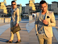 Paul Ramos - Iconic Beige Blazer, H&M Stripe Shirt, New Look Polka Dots Pocket Square, American Eagle Outfitters Khaki Pants, Iconic Black Tassel Loafers, Cotton On Rosegold Timepiece, Zara White Leopard Sunnies, Splash Black Menvelope - Different Concept