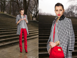 MonCherries . - Sheinside Coat - Houndstooth