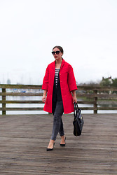 Alexandra G. - 424 Fifth Satin Coat, James Jeans Moto Skinny, J.Crew Suede Pumps, 3.1 Phillip Lim Tote, 424 Fifth Menswear Vest - Saw Red