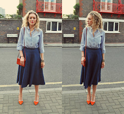 Taylor Gymer - H&M Shirt, Zara Skirt, Ralph Lauren Bag, Lk Bennett Heels - Summer orange