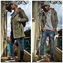 Nico Xavier - Asos Flowers Sweater, H&M Parka, Vans Fleeces Brown Suede - Grey Knit Cap and Cloudy Weather