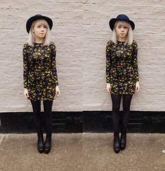 Kate G - Vintage Hat, Jollychic Floral Dress, Jollychic Black/Gold Boots - Mini