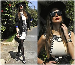 Amina Allam - In Love With Fashion Nude&Lace Bodycon Dress, Giant Vintage Sunnies, Fendi Clutch & Bracelet, Christian Louboutin Lace Pumps, H&M High Low Hem Jacket - In Love With Fashion