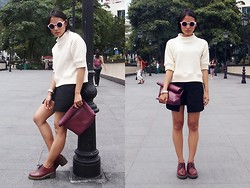 Rachel Eng - Zara Quilted Sweater, Thescarletroom Pocket Skorts, D.I.Y Lunch Bag Clutch - To Quilt or Not To Quilt