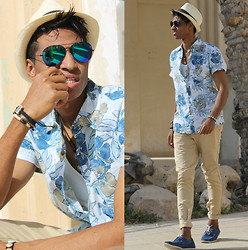 Liliano Ventos - Ray Ban Shades, Cheap Monday Flora Shirt, Splash Fedora Hat, Pull & Bear Chino, H&M Shoes, Bracelets - Me? Jealous of you?LMFAO.Oh Honey bless your heart.