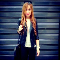 Maria Pasiali - Zara White Casual Top, Zara Leather Jacket - I DON'T DO FASHION,I AM FASHION