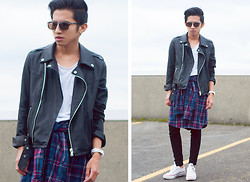 Mc kenneth Licon - Forever 21 Biker Jacket, Whyred Plaid Shirt, Converse Jack Purcell - Biker Grunge
