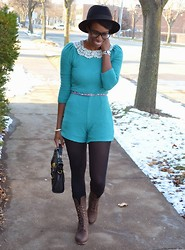 Sushanna M. - Thrifted Teal Romper, Thrifted Floral Skinny Belt, Street Level Black Satchel, Urbanog Brown Lace Up Calf Boots - Come Winter, Come Spring