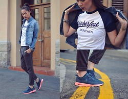 Aqeelah Harron - Mango Denim Jacket, Oktoberfest Munich Souvenir Tee, Zara Trousers, Nike Air Max Theas - Thea