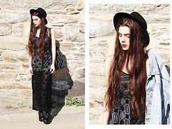 CLAUDIA Holynights - Asos Crochet Maxi Dress, Wholesale7 Boots, Tricirculo Backpack, Levi's® Acid Wash Denim Jacket - Crochet and denim