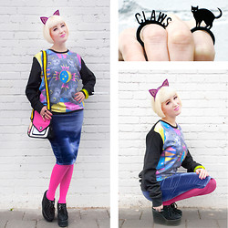 Lovely Sara - Dazzle & Jolt Jumper, I Love Crafty Rings, Jazzafine Cat Ears Headband, Lashes Of London Skirt, Topshop Tights, Jump From Paper Bag, Serena Kuhl Bangle - Even the Cutest Cats Have Claws