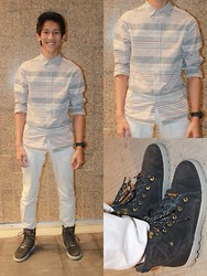 Juven Maranan - Forever 21 Stripes Button Down, Forever 21 White Pants, Dc Torstein Ace Boots - STRIPED UP