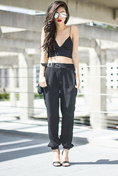 Joselin R - 80's Purple Mirrored Aviators, Alexander Wang Silk Bralette, Zara Trousers, Tibi Heels - A Little Bit of Skin