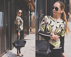 Olga Choi - Udobuy Blazer, Forever 21 Pants, Asos Sunglasses, Asos Watch - Flowers and stripe