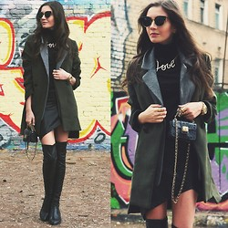 Anna Brain - Mart Of China Black Pu Over Knee Boots, Romwe Asymmetric Bodycon Black Skirt, 6ks Tailored Single Breasted Wool Coat, Choies Love Letter Necklace, Oasap Vintage Round Sunglasses, Romwe Rings - FIFTY SHADES OF BLACK