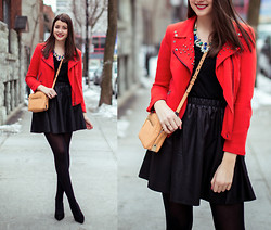 Julie Provencher - Zara Jacket, Forever 21 Necklace, Zara Bag, Piperlime Skirt - Under the Weather