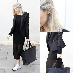 Joyce Croonen - &Otherstories Tote, Nike Sneakers, Avelon Dress, Sandro Blazer, Anna Lawska Earring - Long black dress