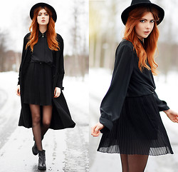 Ebba Zingmark - 2hand Blouse, 2hand Hat, Ebba Z For Sin Dress, Vagabond Boots, Frontrowshop Coat - And I don't think I can learn